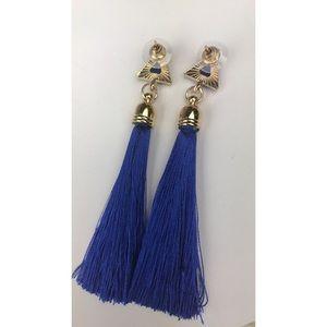 Jewelry - Blue and Gold Tassel Earrings